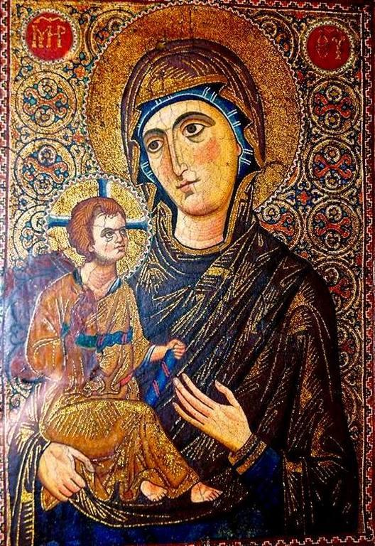 Богоматерь Одигитрия. Византийская мозаическая икона XIII века. Монастырь Святой Екатерины на Синае.