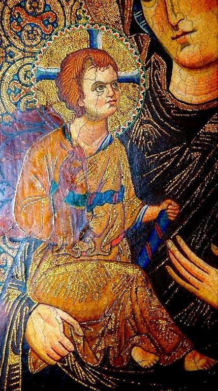 Богоматерь Одигитрия. Византийская мозаическая икона XIII века. Монастырь Святой Екатерины на Синае. Фрагмент.
