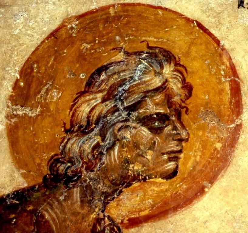 Святая Преподобная Мария Египетская. Фреска церкви Святого Николая в Гераки, Греция. Конец XIII века.