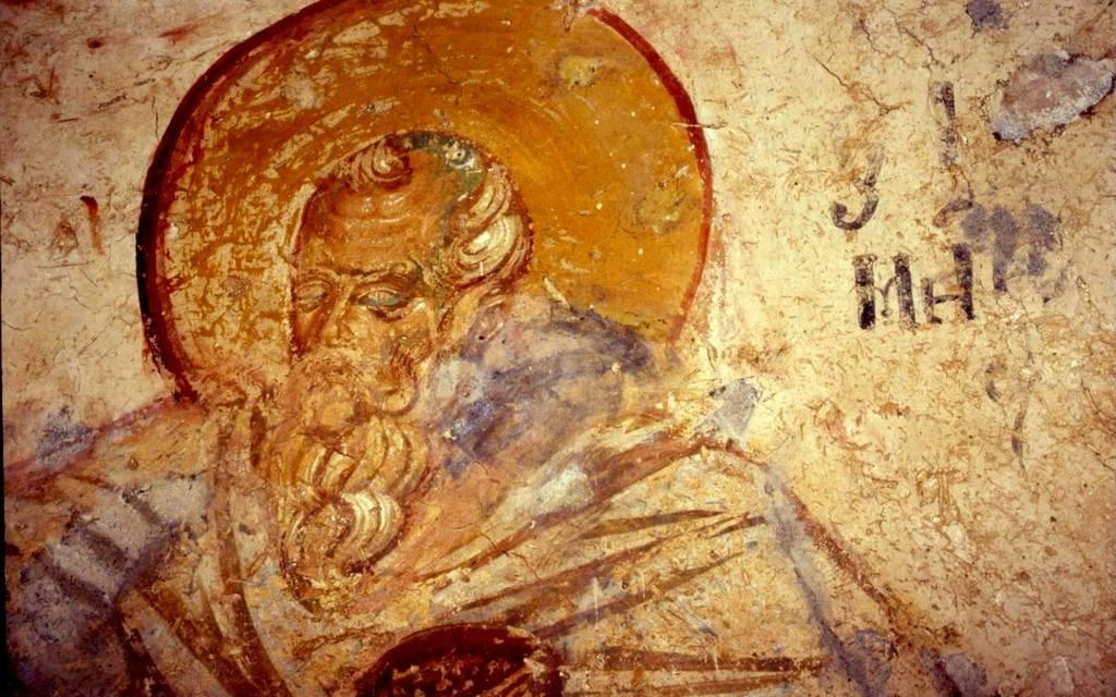 Святой Преподобный Зосима Палестинский. Фреска церкви Святого Николая в Гераки, Греция. Конец XIII века.