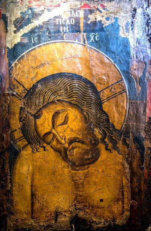 Христос во гробе. Икона. Византия, последняя четверть XII века. Византийский музей в Кастории, Греция.