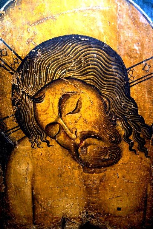 Христос во гробе. Икона. Византия, последняя четверть XII века. Византийский музей в Кастории, Греция. Фрагмент.