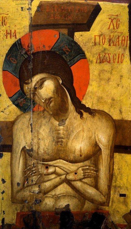 Христос во гробе. Икона. Византийский музей в Кастории, Греция.