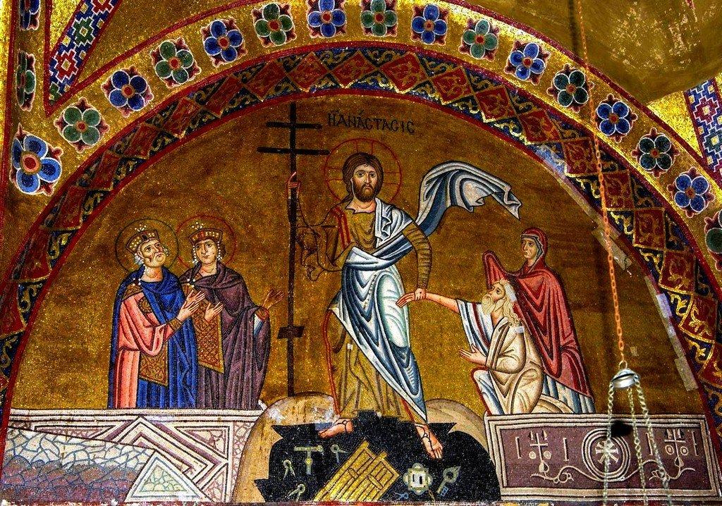 Сошествие во ад. Мозаика монастыря Осиос Лукас, Греция. 1030 - 1040-е годы.
