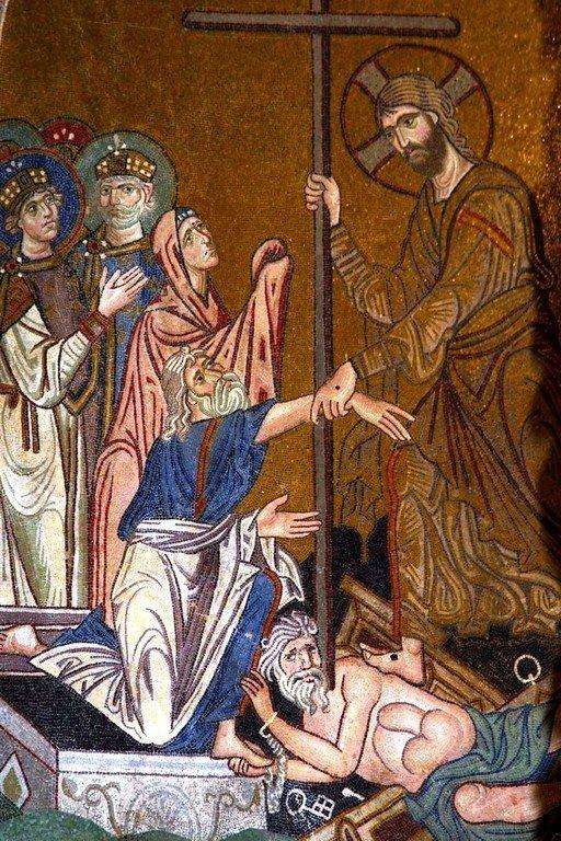 Сошествие во ад. Мозаика монастыря Дафни близ Афин. XI век. Фрагмент.