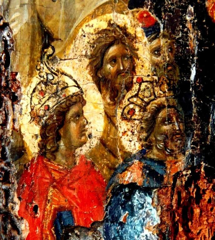 Сошествие во ад. Византийская икона XIV века. Фрагмент. Святые Пророки Иоанн Предтеча, Цари Соломон и Давид.