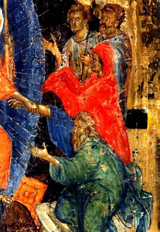 Сошествие во ад. Византийская икона XIV века. Фрагмент. Святые Праотцы Адам и Ева, вызволяемые Спасителем из ада.