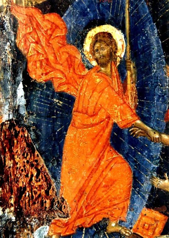 Сошествие во ад. Византийская икона XIV века. Фрагмент. Господь Иисус Христос, вызволяющий ветхозаветных праведников из ада.