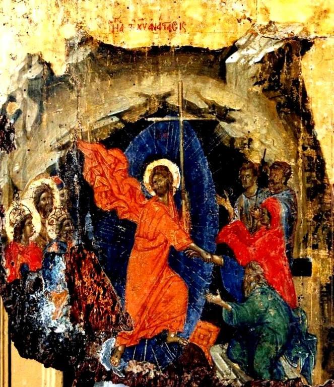 Сошествие во ад. Византийская икона XIV века.