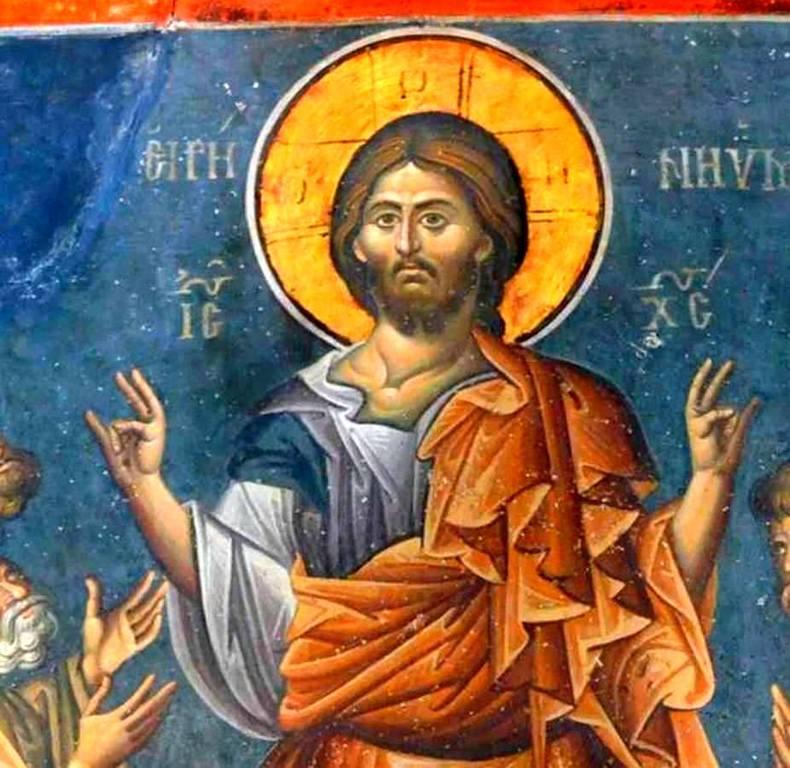 """Явление Воскресшего Христа Апостолам (""""Мир вам""""). Фреска нартекса кафоликона монастыря Ватопед на Афоне. 1312 год. Фрагмент."""