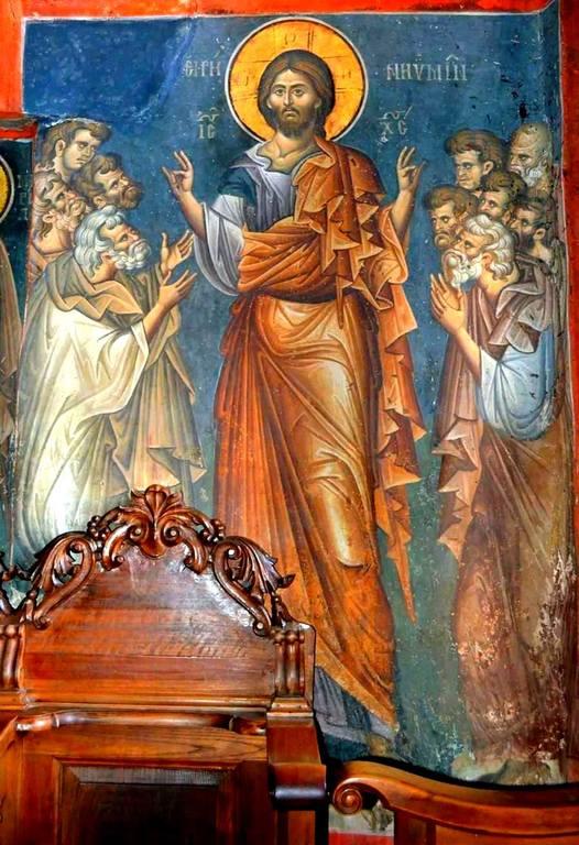 """Явление Воскресшего Христа Апостолам (""""Мир вам""""). Фреска нартекса кафоликона монастыря Ватопед на Афоне. 1312 год."""