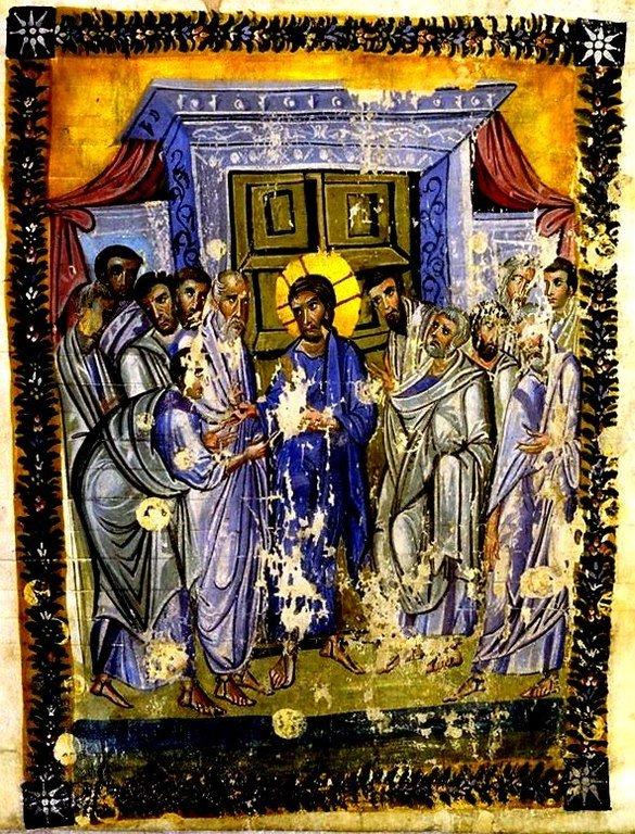 """Уверение Апостола Фомы. Миниатюра """"Трапезундского Евангелия"""". Византия, третья четверть Х века."""