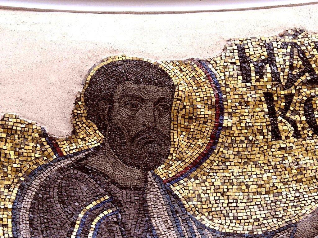 Святой Апостол и Евангелист Марк. Мозаика монастыря Неа Мони на острове Хиос, Греция. 1049 - 1056 годы. Фрагмент.