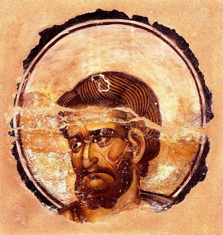 Святой Апостол и Евангелист Марк. Фреска монастыря Ватопед на Афоне. 1170 - 1180 годы.