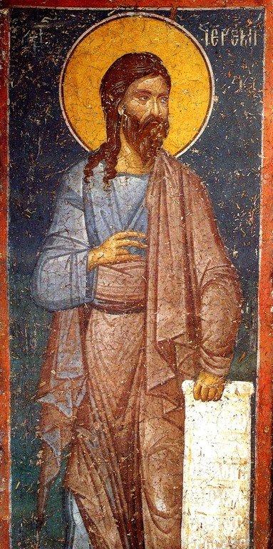 Святой Пророк Иеремия. Фреска монастыря Панагии Олимпиотиссы в Элассоне, Греция. Конец XIII века.