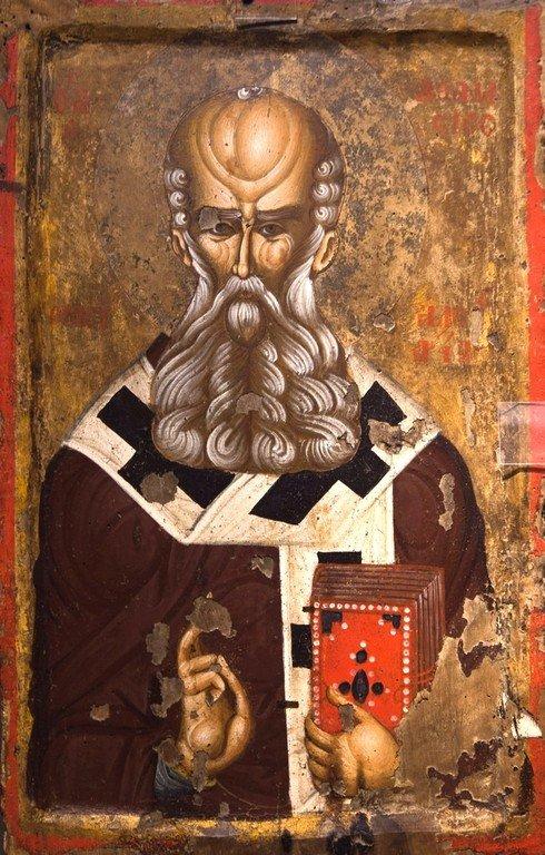 Святитель Афанасий Великий, Архиепископ Александрийский. Икона. Византия, конец XIV - начало XV веков. Византийский музей в Кастории, Греция.