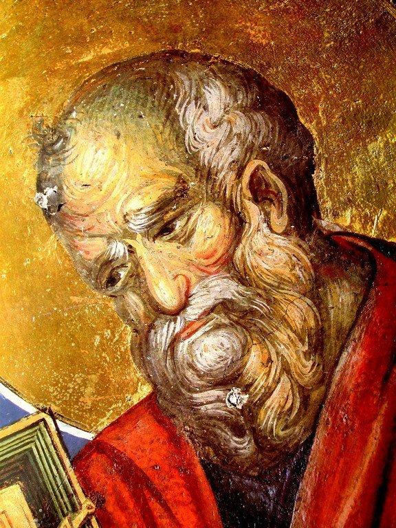 Святой Апостол и Евангелист Иоанн Богослов. Фреска монастыря Пантократор на Афоне. 1363 год.