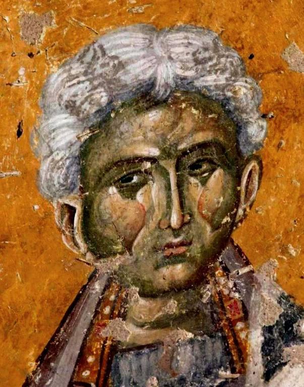 Святитель Герман, Патриарх Константинопольский. Византийская фреска. Церковь Старая Митрополия в Верии, Греция.