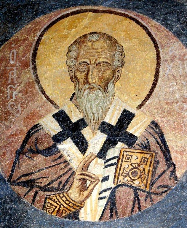 Святой Преподобный Ахиллий, Епископ Ларисийский. Фреска церкви Святого Пантелеимона в Нерези близ Скопье, Македония. 1164 год.