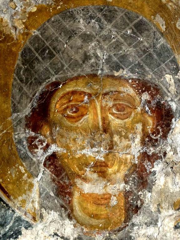 Лик Святой. Византийская фреска в церкви Святого Иоанна Златоуста в Гераки, Греция.