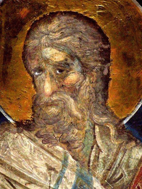 Лик Святого. Фреска монастыря Пантократор на Афоне. 1363 год.