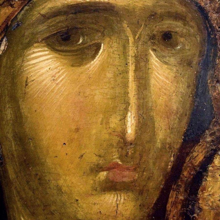 Лик Пресвятой Богородицы. Фрагмент византийской иконы XIV века.