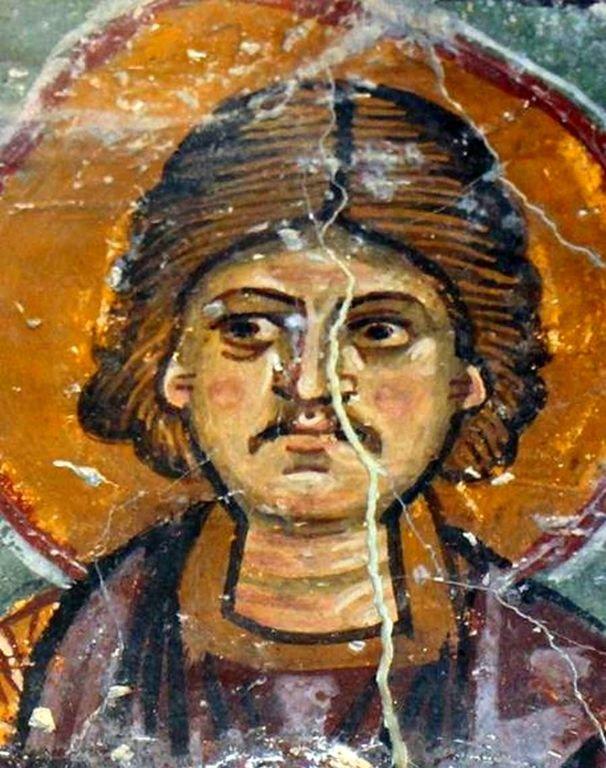 """Святой Мученик Фалалей. Византийская фреска в церкви Святого Николая тис стегис (""""под крышей"""") на Кипре."""