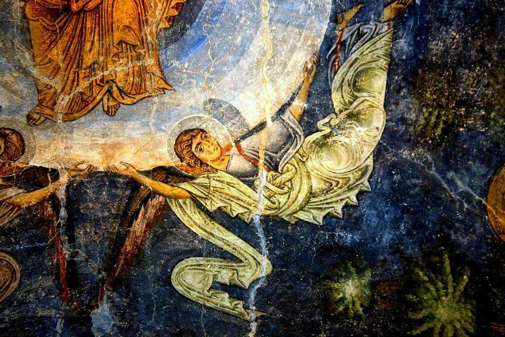 Вознесение Господне. Фреска собора Святой Софии в Охриде, Македония. Около 1040 года. Фрагмент.