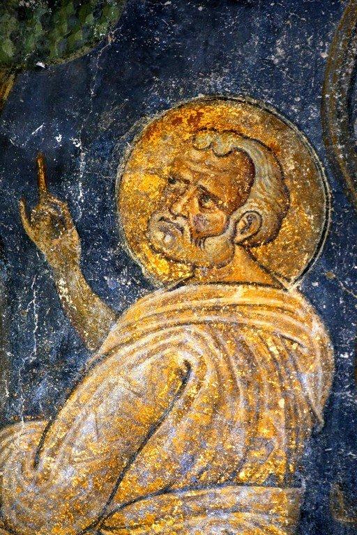 Вознесение Господне. Фреска собора Святой Софии в Охриде, Македония. Около 1040 года. Фрагмент. Святой Апостол Пётр.