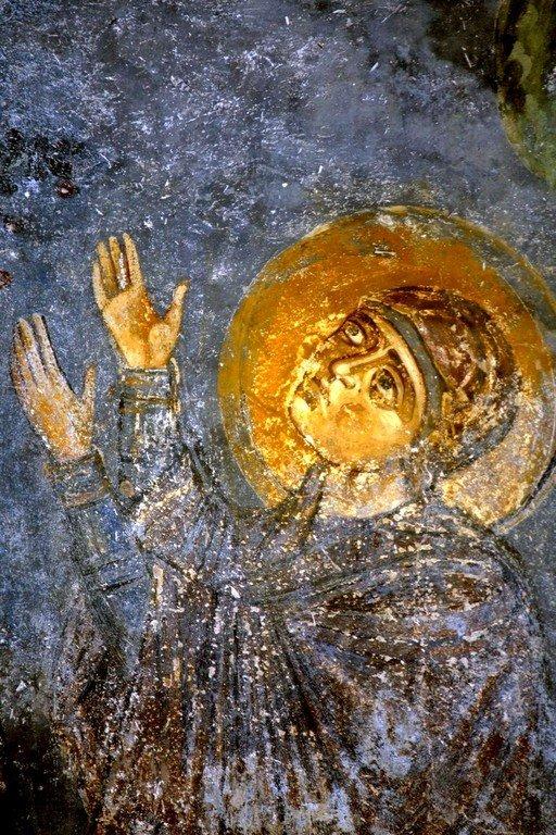 Вознесение Господне. Фреска собора Святой Софии в Охриде, Македония. Около 1040 года. Фрагмент. Пресвятая Богородица.