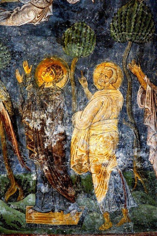 Вознесение Господне. Фреска собора Святой Софии в Охриде, Македония. Около 1040 года. Фрагмент. Пресвятая Богородица и Святой Апостол Пётр.