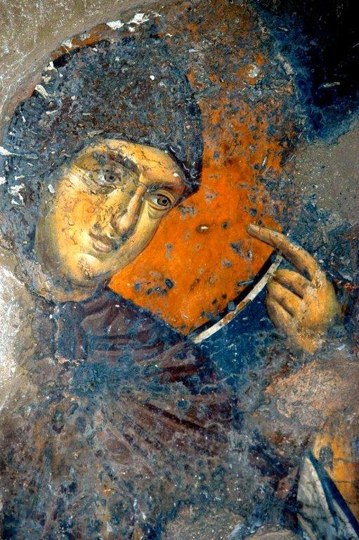 """Ангел Господень. Фрагмент фрески """"Явление Ангела в схиме Святому Преподобному Пахомию Великому"""". Монастырь Панагии Олимпиотиссы в Элассоне, Греция. Конец XIII века."""