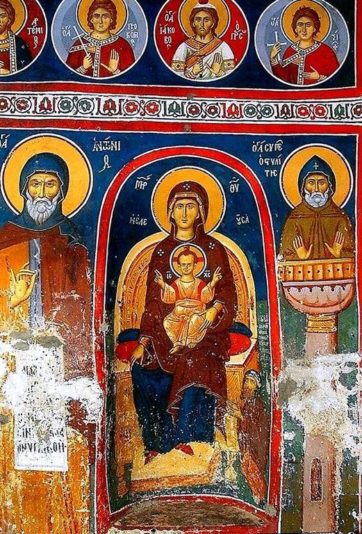 Пресвятая Богородица с Младенцем на троне. Фреска монастыря Сретения Господня в Метеорах, Греция. 1366 - 1367 годы.