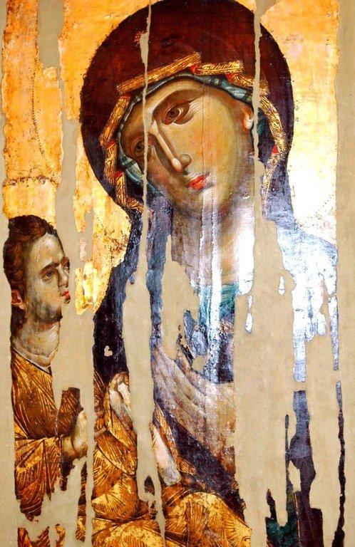 Богоматерь Одигитрия. Икона. Византия, 1260-е годы. Сербский монастырь Хиландар на Афоне.