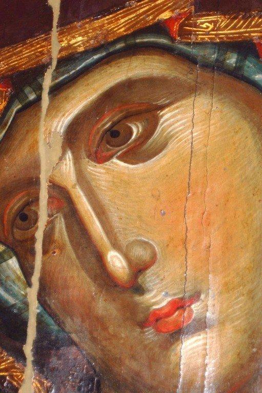 Богоматерь Одигитрия. Икона. Византия, 1260-е годы. Сербский монастырь Хиландар на Афоне. Фрагмент.