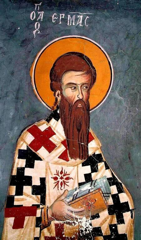 Святой Апостол от Семидесяти Ерм. Фреска монастыря Святого Иоанна Лампадиста в Калопанайотисе на Кипре. 1400 год.