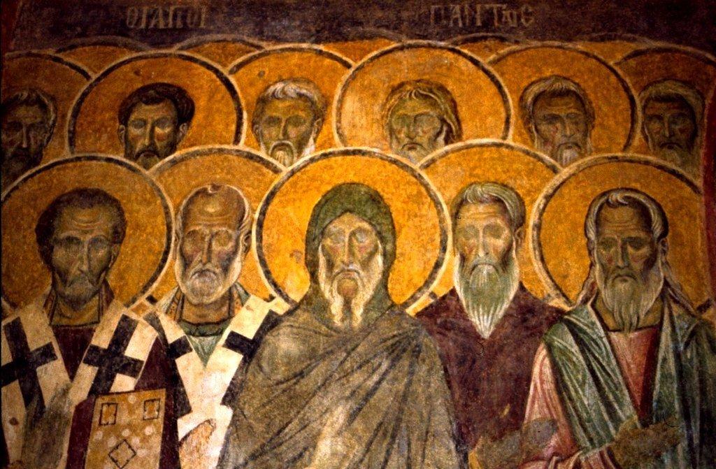Неделя Всех Святых. Фреска монастыря Бачково, Болгария. XI век. Фрагмент.