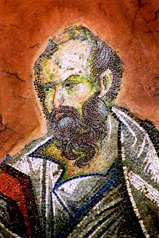 Святой Пророк Елисей. Мозаика церкви Святых Апостолов (Двенадцати Апостолов) в Салониках, Греция. XIV век.