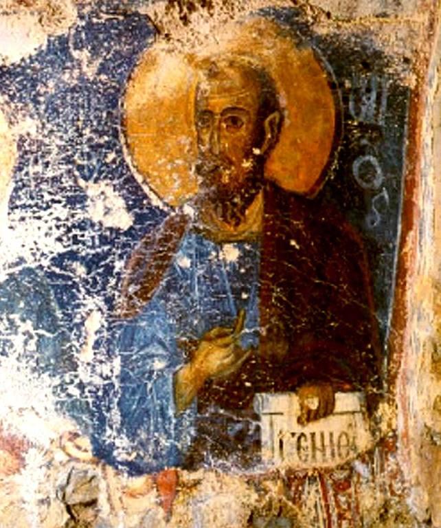 Святой Пророк Елисей. Фреска церкви Святого Георгия в Керии, Греция.