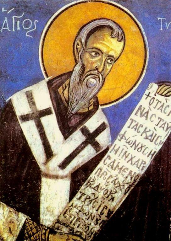 Святитель Тихон, Епископ Амафунтский, Чудотворец. Византийская фреска. Кипр.