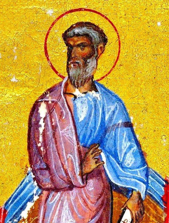 Святой Апостол Иуда Фаддей. Византийская миниатюра конца XI века. Фрагмент.