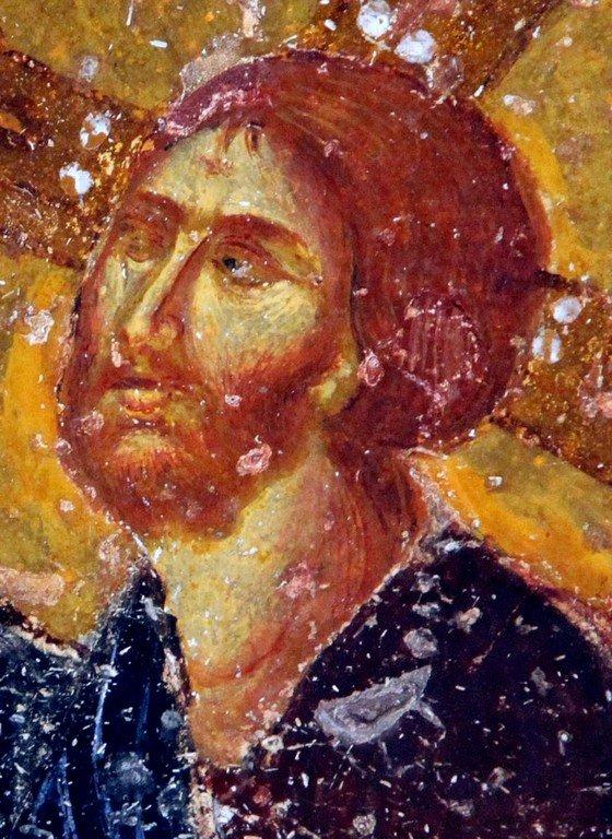 Умножение Христом хлебов и рыб. Фреска собора Святой Софии в Трапезунде. XIII век. Фрагмент.