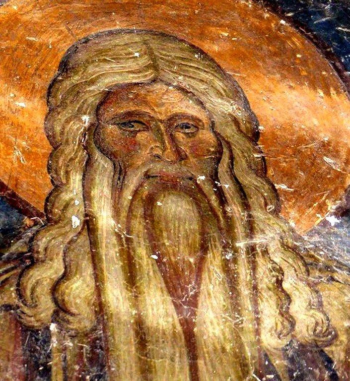 Святой Преподобный Давид Солунский (?). Фреска церкви Святых Врачей в Кастории, Греция. XII век.