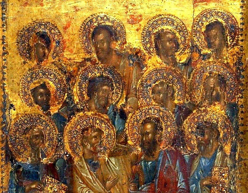Собор Двенадцати Апостолов. Византийская икона XIV века. Фрагмент.