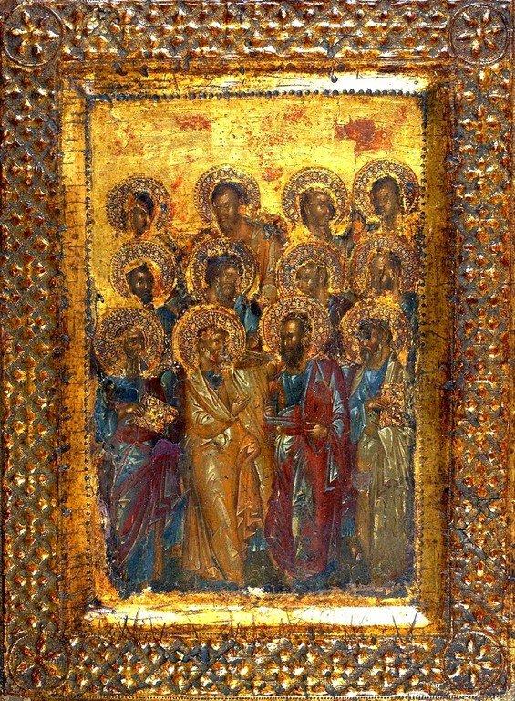 Собор Двенадцати Апостолов. Византийская икона XIV века.