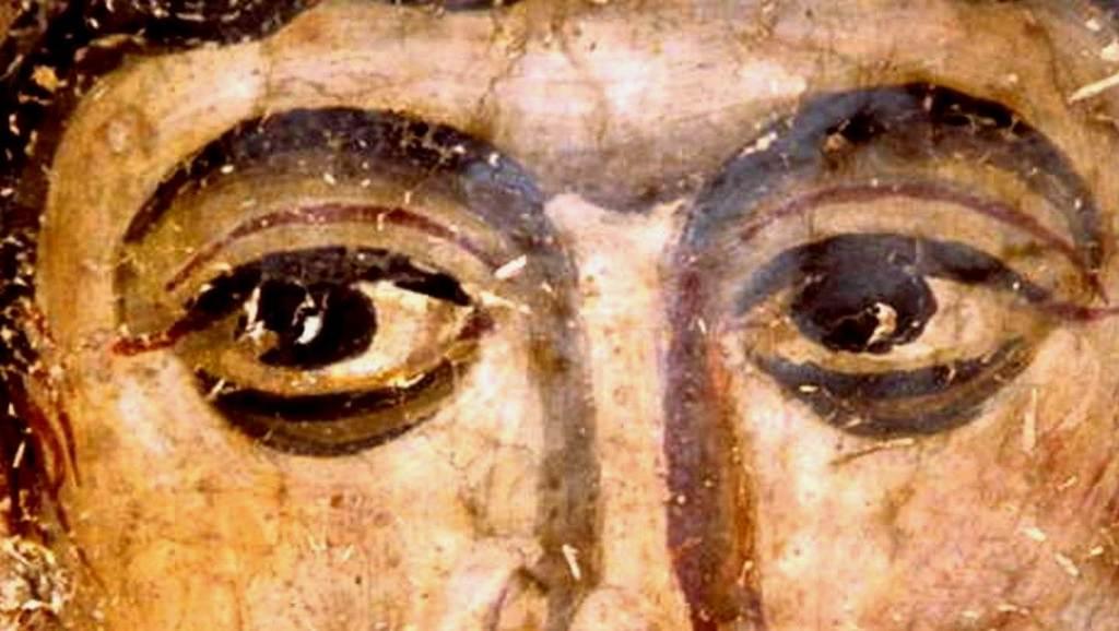 Святой Мученик Исавр Афинянин, диакон. Фреска из монастыря Водоча, Македония. XI век. Музей Македонии в Скопье.