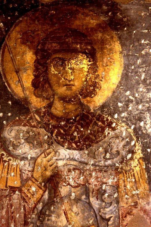 Святой Великомученик Прокопий. Фреска церкви Панагии Космосотиры в Феррах, Греция. XII век.