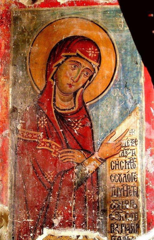 Богоматерь Параклесис. Фреска церкви Панагии ту Мутулла на Кипре.