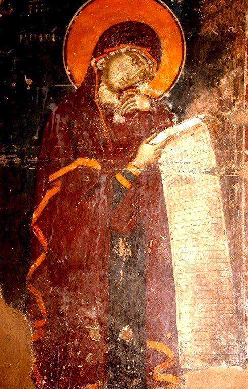 Богоматерь Параклесис. Фреска церкви Святого Николая Орфаноса в Салониках, Греция. 1310 - 1315 годы.