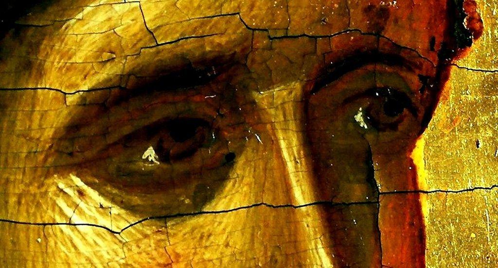 """Архангел Гавриил. Фрагмент иконы """"Благовещение Пресвятой Богородицы"""". Византия, XIV век. Галерея икон в Охриде, Македония."""